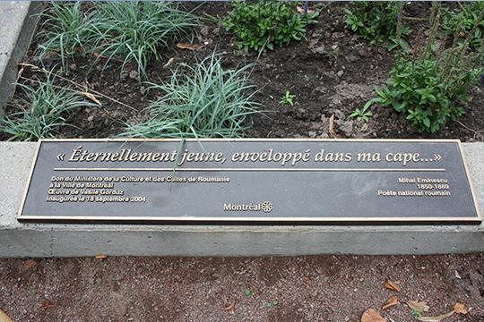 Statuia lui Eminescu din Montreal nu mai are placa de prezentare din bronz