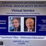 Participarea Reprezentantului Permanent al României la ONU, Ambasadorul Ion I. Jinga, la ceremonia de comemorare a Holocaustului, organizată de Sinagoga Park East din New York