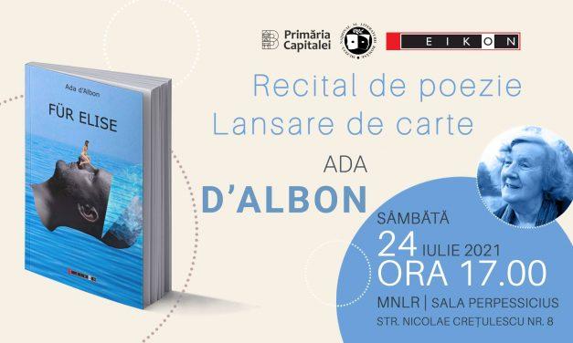 """Recital de poezie și lansare Ada d'Albon – """"Für Elise"""""""
